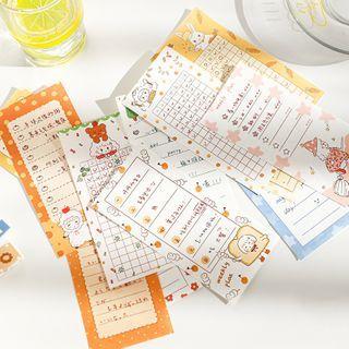 Image of Cartoon Print Memo Pad Set of 18 - Multicolour - One Size