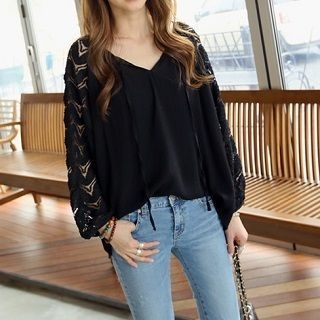 Lace-Panel Loose-Fit Blouse Black - One Size 1050578532