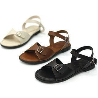 Image of Genuine Leather Buckled Sandals