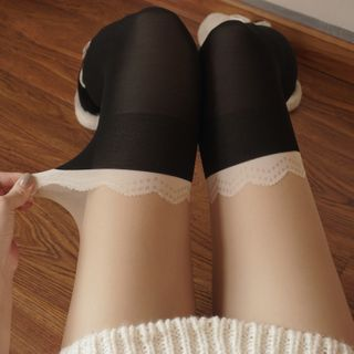 Mock Hold-up Tights Black - One Size