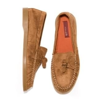 Faux-Suede Tassel-Accent Loafers