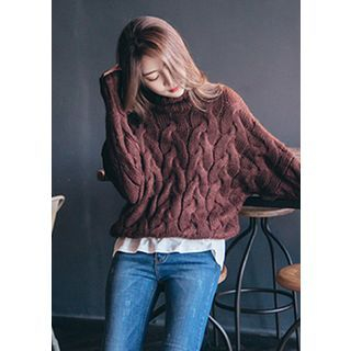 Turtle-Neck Cable-Knit Top 1056398120