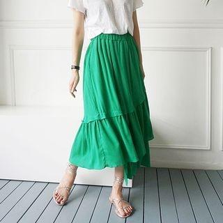 Band-Waist Layered Long Skirt 1050828689