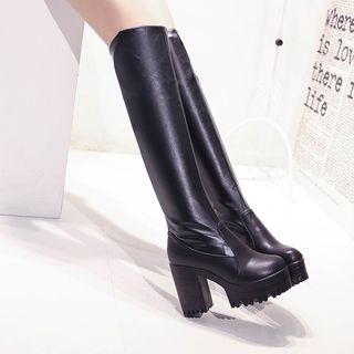 Chunky Heel Faux Leather Over-the-Knee Boots