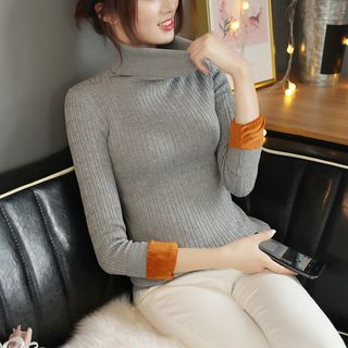 Image of Fleece-Lined Ribbed Knit Top