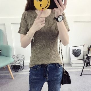 Short-Sleeve Ribbed Knit Top 1060890898