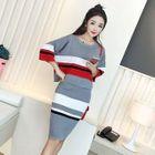 Set: Striped 3/4-Sleeve Knit Top + Knit Pencil Skirt 1596