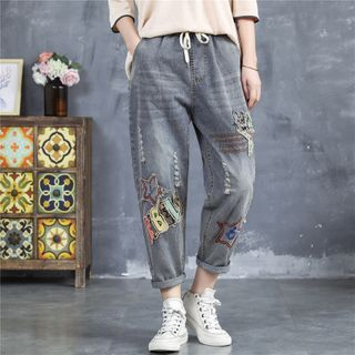 Image of Applique Distressed Cropped Harem Jeans
