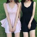 Lace Trim Ribbed Sleeveless A-Line Dress 1596