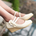 Double Strap Wedge Pumps Beige - 39 от YesStyle.com INT