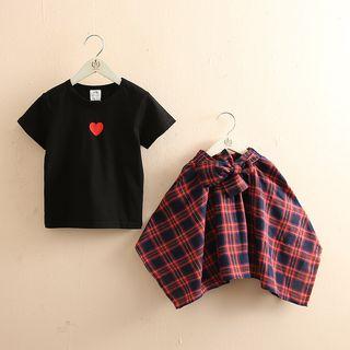 Short-sleeve   Embroider   T-Shirt   Heart   Plaid   Skirt   Kid