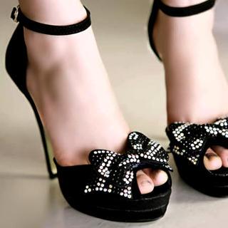 """Buy Kvoll Genuine Suede """"Bow"""" Platform High Heels 1022653501"""
