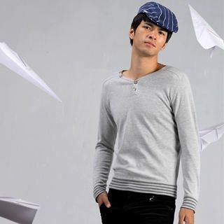 Picture of Justyle Ribbed-Hem Knit Henley 1021498340 (Justyle, Mens Knits, China)
