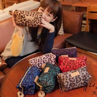 Pompom-Accent Leopard Print Cosmetic Bag