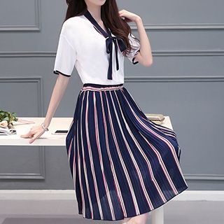 set-tie-collar-short-sleeve-top-pinstriped-skirt