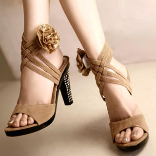 "Buy Kvoll Genuine Suede Rhinestone ""Corsage"" Sandals 1022653605"