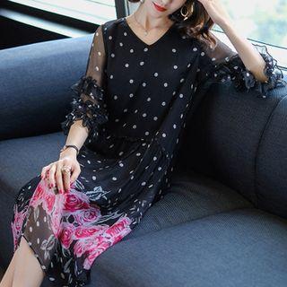 Print 3/4-Sleeve Midi Dress - United states