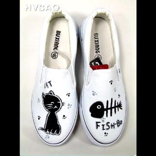 Picture of HVBAO Cat & Fish Slip-Ons 1021428509 (Slip-On Shoes, HVBAO Shoes, Taiwan Shoes, Womens Shoes, Womens Slip-On Shoes)