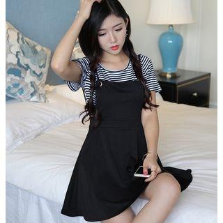 Set: Striped Short-Sleeve T-Shirt + Strappy A-Line Dress 1058436303
