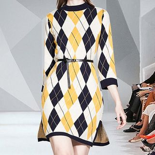Image of 3/4-Sleeve Argyle Mini A-Line Knit Dress