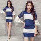 Set: Bell-Sleeve Color-Block Top + Color-Block Skirt 1596