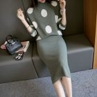 Set: Mock-Neck Dotted Knit Top + Knit Skirt 1596