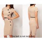 Short-Sleeve Buttoned Sheath Dress 1596