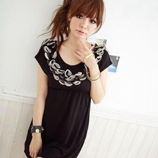 Buy D.P-Shop Ruffle Crewneck Tee-Shirt Dress Black – One size 1022973045