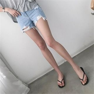 Image For Distressed Washed Denim Shorts