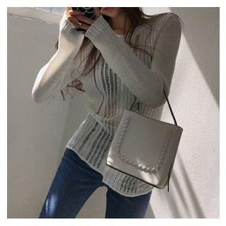 Sheer Long Sleeve Knit Top 1051579409