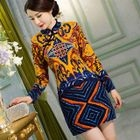Printed Long-Sleeve Cheongsam 1596