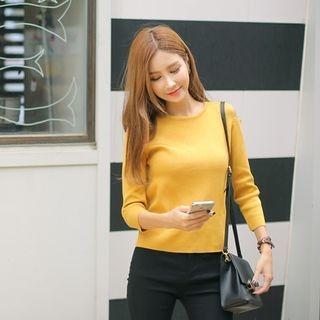 Cutaway-Shoulder Knit Top 1053096871