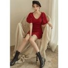 Puff-Sleeve Wool Blend Knit Sheath Dress 1596