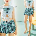 Set: Sleeveless Top + Shorts + Bikini 1596