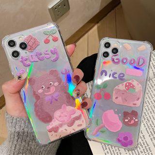 Image of Bear & Cake Print Transparent Phone Case - iPhone 11 Pro Max / 11 Pro / 11 / XS Max / XS / XR / X / 8 / 8 Plus / 7 / 7 Plus / 6s / 6s Plus