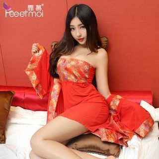 Set: Printed Robe + Strapless Nightdress + Thong 1064126957
