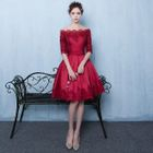 Off-Shoulder Lace-Panel Mini Prom Dress 1596
