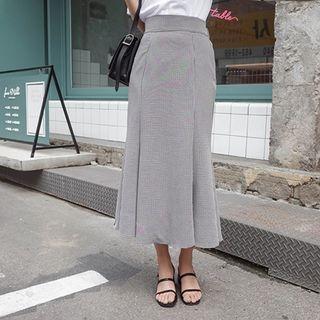 Band-Waist Checked Linen Long Skirt 1061180758