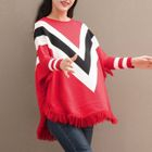 Contrast Trim Fringed Sweater 1596