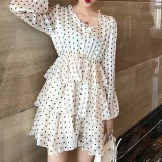 Long-sleeve   Polka   Dress   Mini   Dot