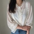 Lace-Trim Embossed Blouse 1596