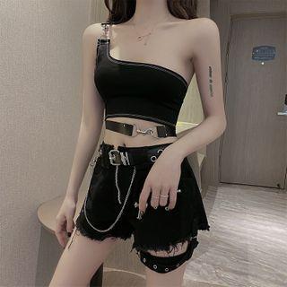 Image of One-Shoulder Crop Top / Fringed Hem Denim Shorts / Faux Leather Belt
