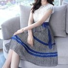 Lace Panel Short-Sleeve A-Line Dress 1596