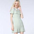 Frill Trim Cold Shoulder A-Line Dress 1596
