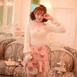 Ruffle Hem Flower Applique Mini Skirt 1052920239