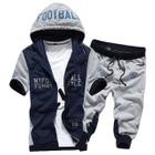 Set: Colour Block Letter Hooded Short-Sleeve Jacket + Sweatpants 1596