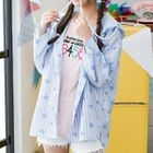 Star Print Striped Hooded Jacket 1596