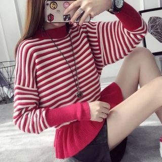 Striped Ruffle Hem Sweater 1054368610