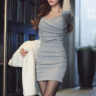 Long-Sleeve Wrap-Front Shirred Dress