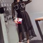 Set: Long-Sleeve A-Line Midi Lace Dress + Strappy Dress 1596